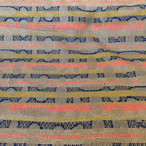 French Cotton/Lurex Woven Jacquard Stripe Neon/Metallic Gold 54""