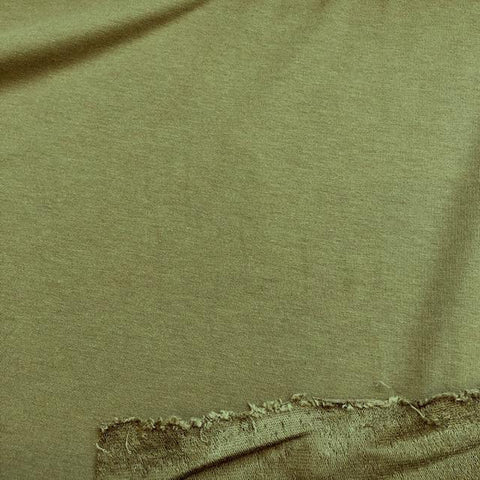 Bamboo Cotton Stretch French Terry Olive 60""