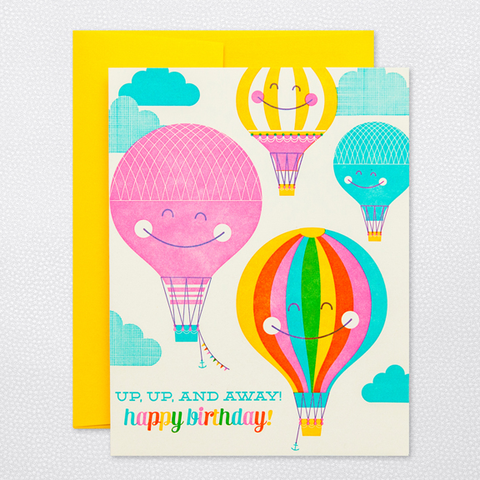 Hello Lucky Hot Air Balloon Birthday Card
