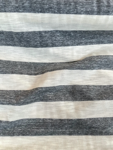 Ella Moss Rayon Spandex Knit Wide Stripe Gray Heather/Ivory 62""