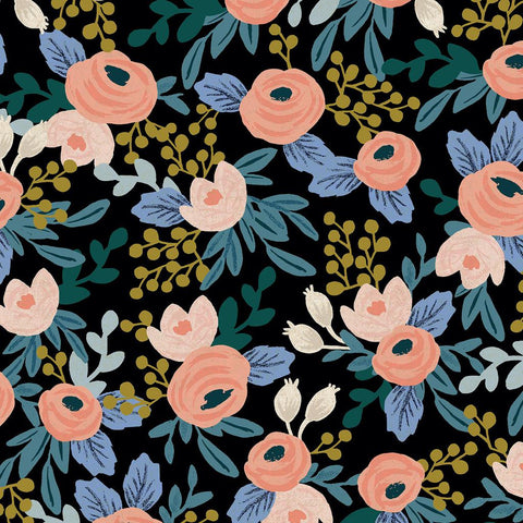 Garden Party by Rifle Paper Co. Rosa Unbleached Canvas Black