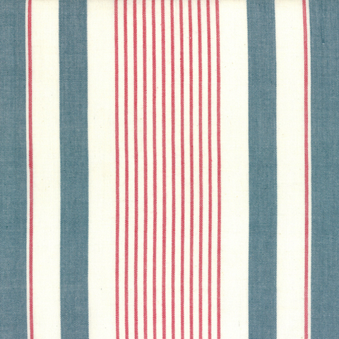 Picnic Point Tea Striped Toweling by Pieces to Treasure Blue/Red