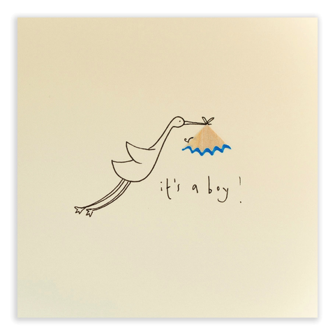 Pencil Shavings Baby Boy Stork Card