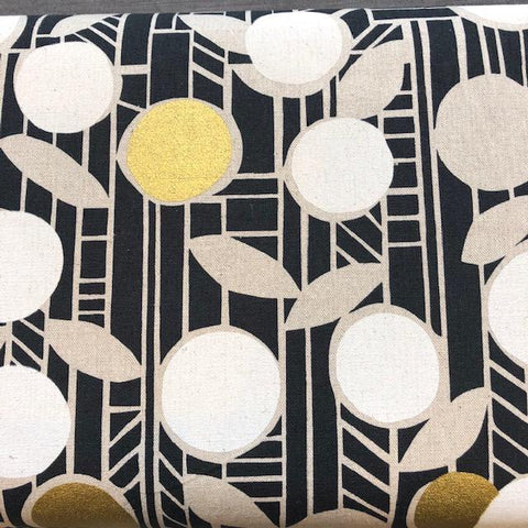 Paper by Ellen Luckett-Baker Lightweight Cotton Linen Canvas Fruit Blk/Wht Metallic Gold