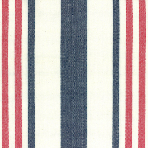 Picnic Point Tea Striped Toweling by Pieces to Treasure Red/Blue