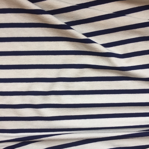 "French Rayon/Lycra Jersey Stripe Navy/White 60"" (All-Way Stretch)"