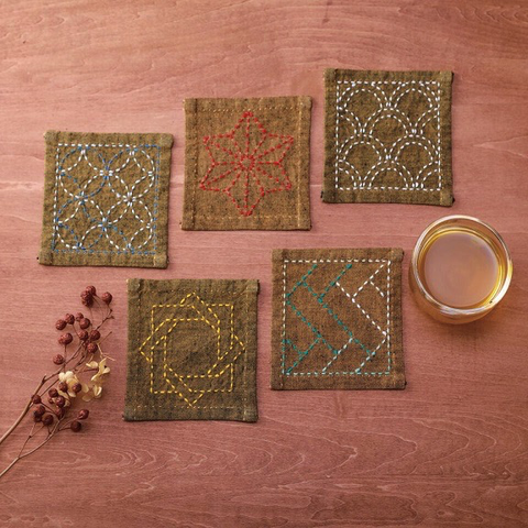 Sashiko Tsumugi Coaster Collection Golden Yellow (5 pc; pre-printed)