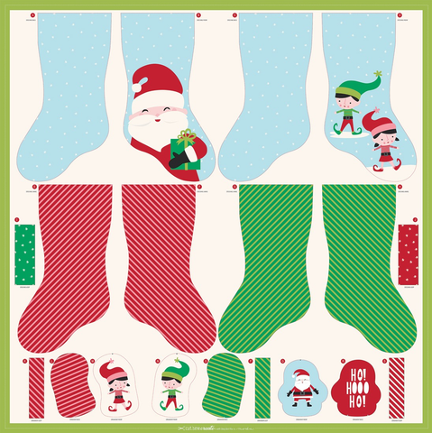 Christmas Stocking and Ornaments Cut & Sew Panel by Stacey Hsu