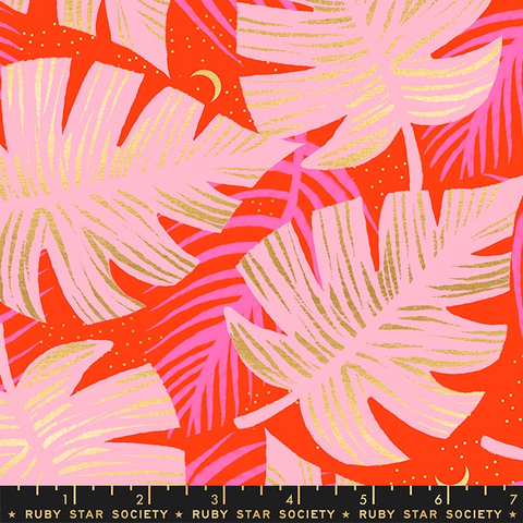 Ruby Star Society Florida by Sarah Watts Shade Palms Fire (Metallic)