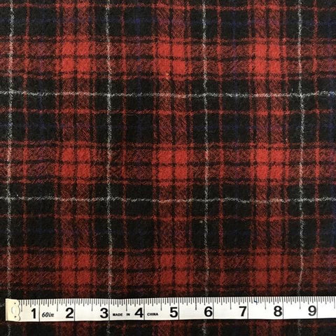 Italian Wool Plaid Navy/Burgundy 48""