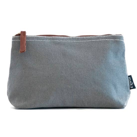Waxed Ash Canvas Zipper Pouch Large
