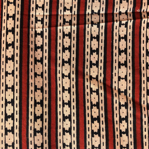 Cotton Block Print Dyed and Printed Stripes Red/Blue/Peach 44""