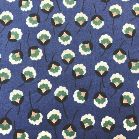 Hokkoh Cotton Lawn Scattered Blossoms Cobalt Multi