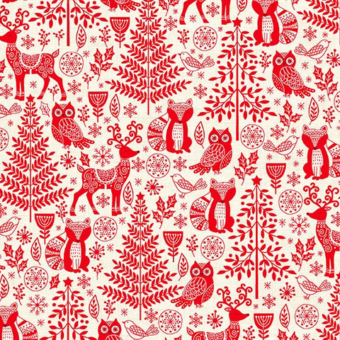 Scandi 2019 by Makower UK Forest Animal Red