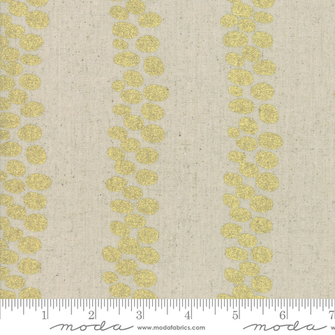 Zen Chic Chill Mochi Linen Gold Vine Stripes (Metallic)
