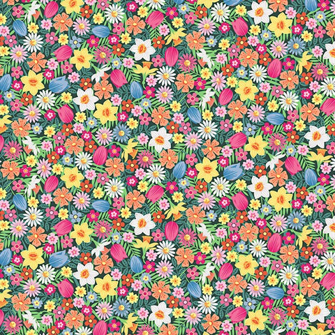 Spring by Makower UK Flowers Pink
