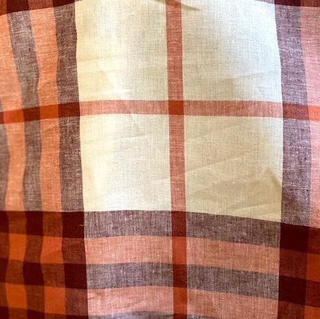 Large Plaid Linen Cotton Pumpkin/Burnt Sienna/Cream 60""