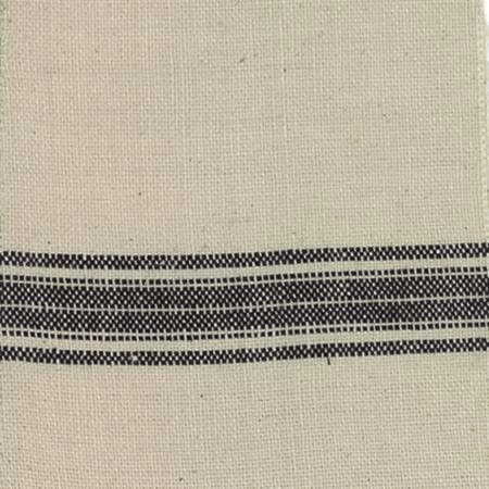 Woven Linen Striped Toweling Cream Black 16""