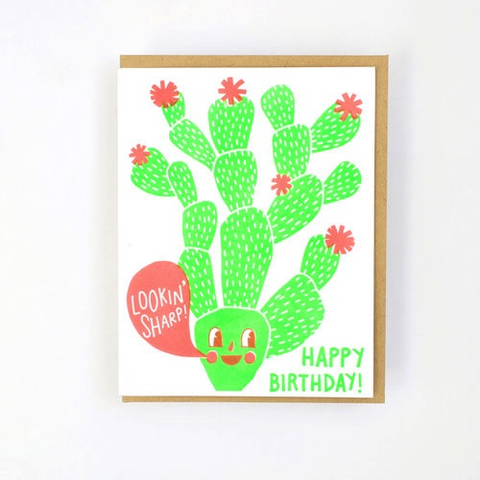 Hello Lucky Cactus Birthday Card