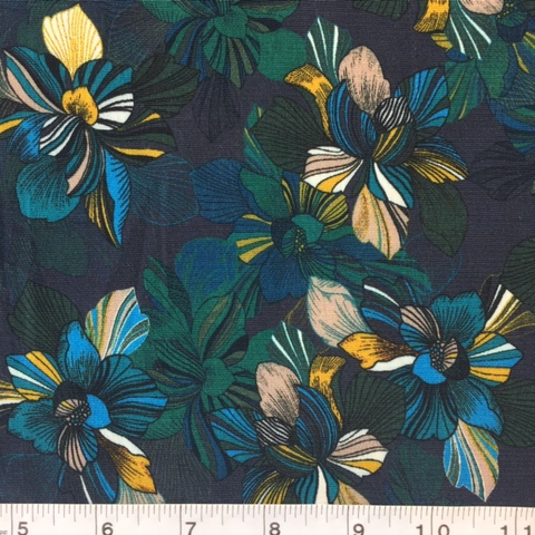 French Viscose Crepe Floral Rich Jewels 60""