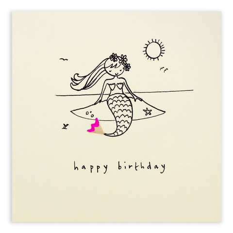 Pencil Shavings Birthday Mermaid Card