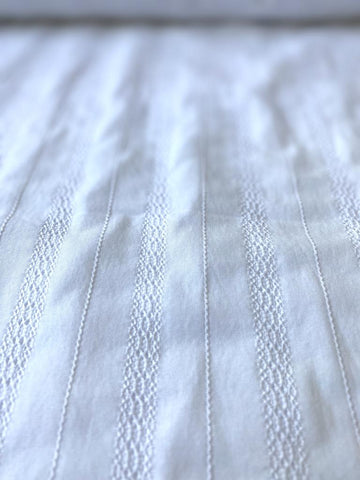 Cotton Lycra Eyelet Stripe White 42""