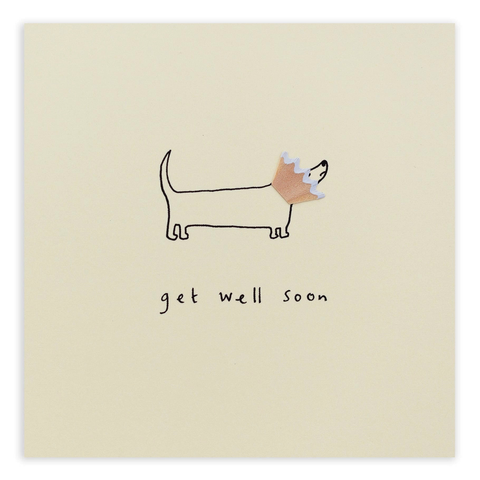 Pencil Shavings Get Well Dog Cone Card