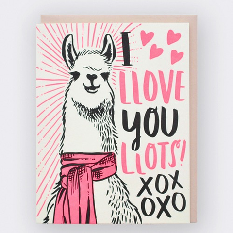 Hello Lucky Llama Love Card