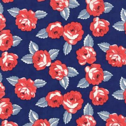 Feed Sacks by Linzee Kull McCray True Blue Navy Roses