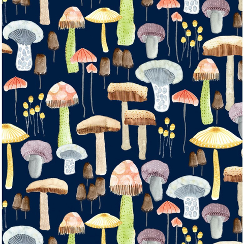 Be Kind to Everything That Grows Mellow Mushrooms Navy Digitally Printed)