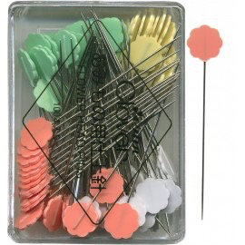 "Clover Flat Flower Head Pins 2"" Four Colors 100ct"