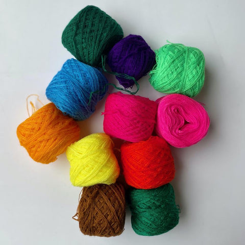 Assorted Pom Pom Yarn Bundle (Four Colors)
