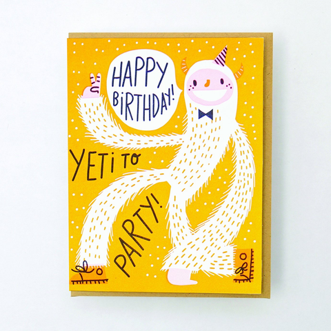 Hello Lucky Yeti To Party Card