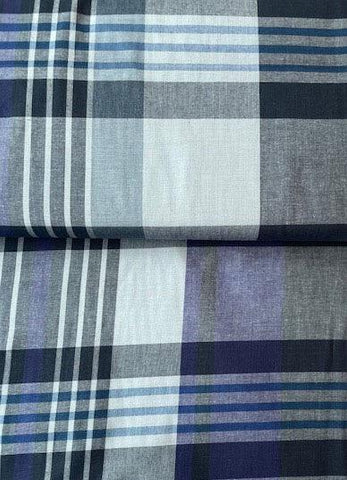 Midweight Cotton Plaid Blue/Purple/Grey 46""