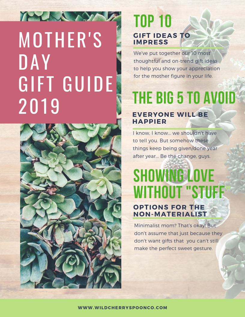 Image of a mother's day gift guide with product information.