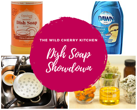 Image of different types of dish soap including Opulent Brands all natural dish soap