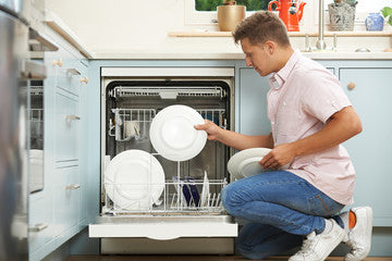 Person loading a plate into a dishwasher