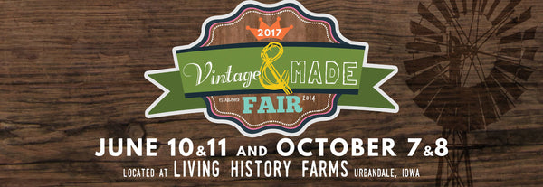 Vintage and Made Fair Iowa poster advertising upcoming handmade market