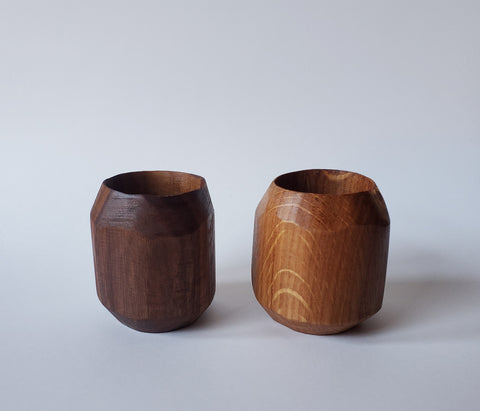 Shot Glass / Cup 4 Piece Set, Handcarved White Oak Or Walnut