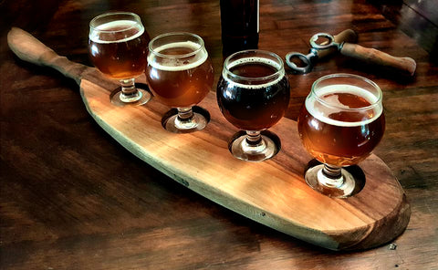 Beer Flight, Carved Handle 4 Glass Holder