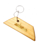 Wood Keychain, Chicago Gold Embossed Geometric Shape / Trapezoid
