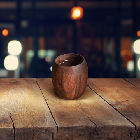 Shot Glass / Cup 4 Piece Set, Handcarved Walnut
