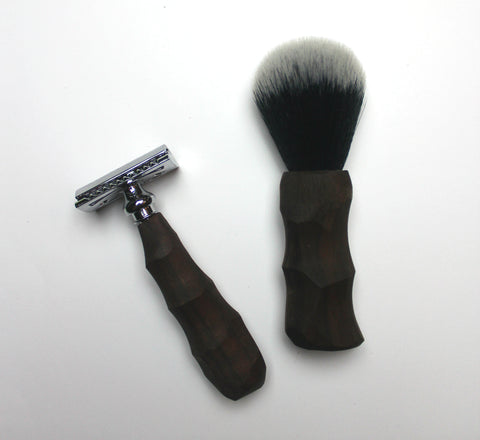 Chiseled Safety Razor & Shaving Brush Combo Set