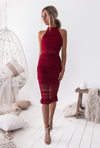 Rivers Midi Dress - Red -Two Sisters The Label