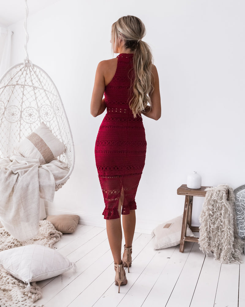 Rivers Midi Dress - Red - Nouveau Riche Boutique