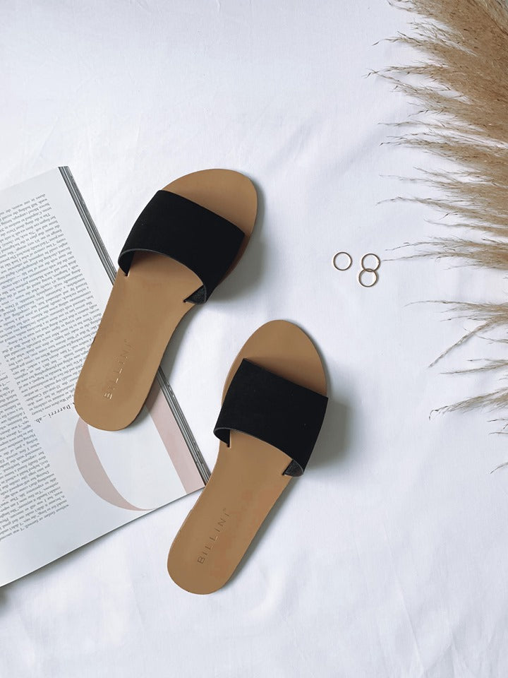 Crete Slides - Black Suede