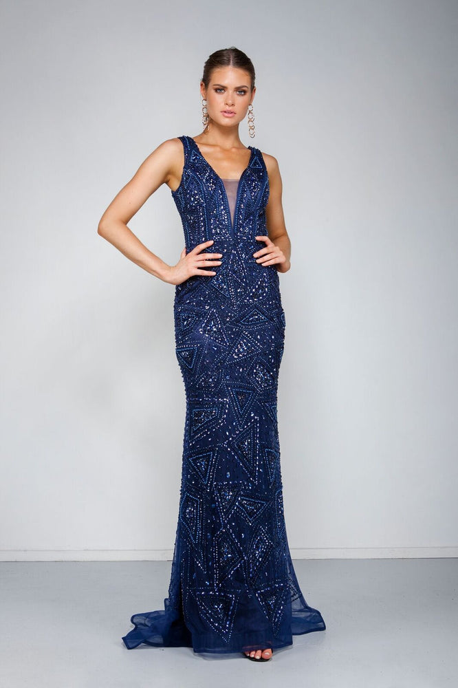 Laurent Gown - Navy by Solace The Label - STYLE STRUCK