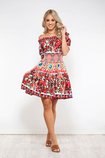 Wild Flower Off Shoulder Dress -Nouveau Riche The Label