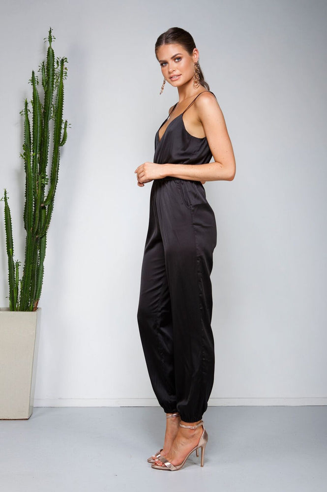 Miami Silk Jumpsuit - Black - STYLE STRUCK