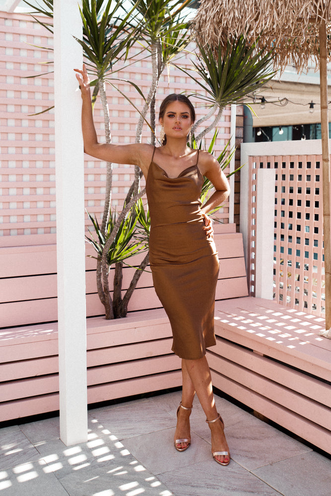 Leanne Dress - Bronze - STYLE STRUCK